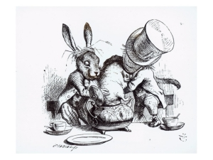 The Mad Hatter and March Hair setting up a breeding experiment in a teacup