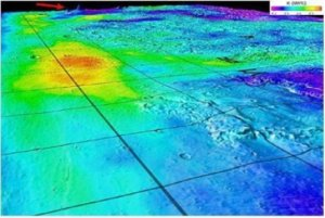 A superimposition of gamma-ray data from Mars Odyssey's Gamma-Ray Spectrometer onto topographic data from the laser altimeter onboard the Mars Global Surveyor.