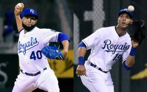 Relief pitcher Kelvin Herrera, left, and outfielder Alex Rios, right